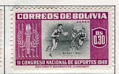 BOLIVIA;  1951 Air Sporting pictorial issue fine Mint hinged $0.30 value