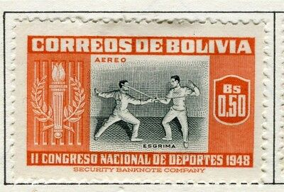BOLIVIA;  1951 Air Sporting pictorial issue fine Mint hinged $0.50 value