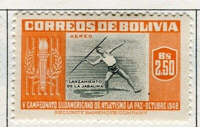 BOLIVIA;  1951 Air Sporting pictorial issue fine Mint hinged $2.50 value