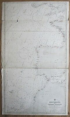 1914 Portsmouth To Canary Islands England Spain Morocco Admiralty Chart Map