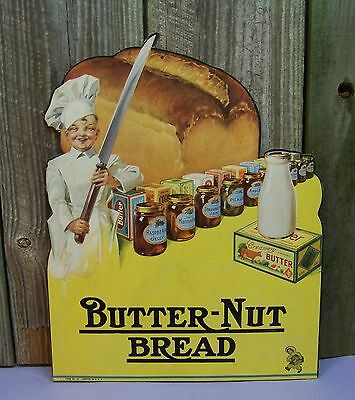 Vintage 1930's Butter Nut Bread Store Cardboard Cut Out Advertising Display Sign