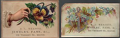 A.L. Bearse Jewelry, Fans, &c - 1800's Trade Card Advertisement Lot (2) - Boston