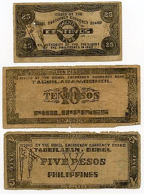 Philippines Emergency Currency Set - 5 10 25 Pesos - Filipinas AH665