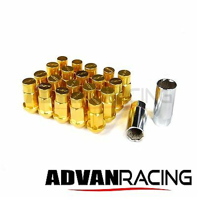 M12 x 1.25 Aluminum Lug Nuts, Light Weight 55 grams, Closed End, GOLD, SUBARU