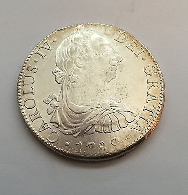 Mexico Spanish Colonial Charles Iv  1789-Fm  8 Reales Silver Coin