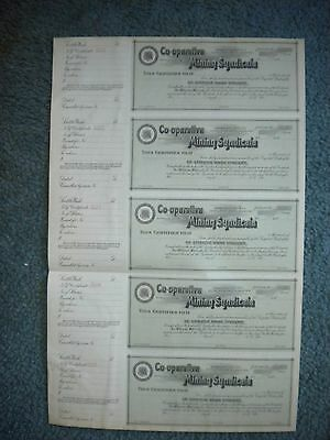 5 Co-Operative Mining Synndicate Stock Certificates   Free Shipping