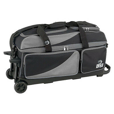 BSI Black/Grey 3 Ball Triple Roller Bowling Bag