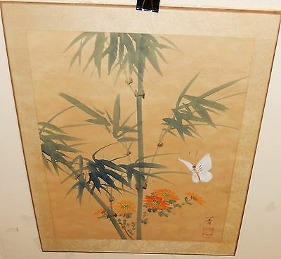 Japanese Bamboo And White Butterfly Original Watercolor Painting Signed
