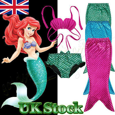 Kids Girls Swimmable Mermaid Tail Sea-maid Bikini Swimwear Swimming Costume Sets