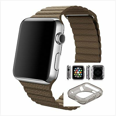 Brown Leather Watch Band Strap Magnetic Buckle Apple Loop 38mm Clear Black Case
