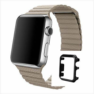 Beige Leather Watch Band Strap Magnetic Buckle Apple Loop 38mm Black Colour Case