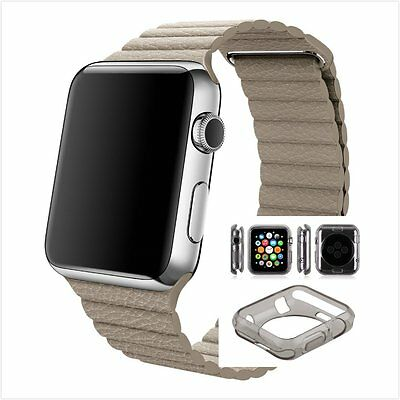 Beige Leather Watch Band Strap Magnetic Buckle Apple Loop 42mm Clear Black Case