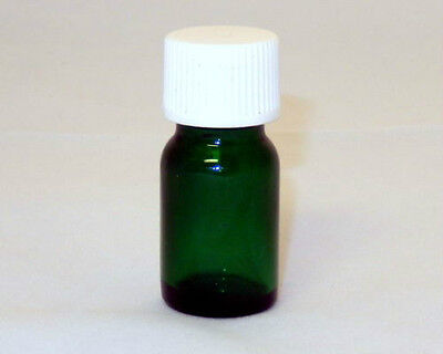 5 ml (1/6 oz) Mini Boston Round Green Glass Bottles w/Caps (Lot of 25)