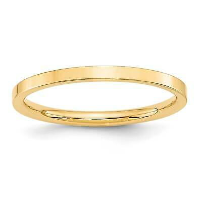 14k Yellow Gold 2mm Standard Flat Comfort Fit Wedding Ring Band Size 4 - 14