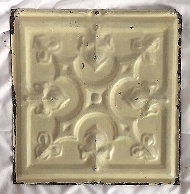"""1890's Reclaimed 12"""" x 12"""" Antique Tin Ceiling Tile 158-17 Metal Putty Shabby"""