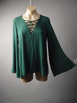 Dark Green Lace Up Tie Neck Druid Pagan Medieval Peasant Top 217 mv Blouse S M L