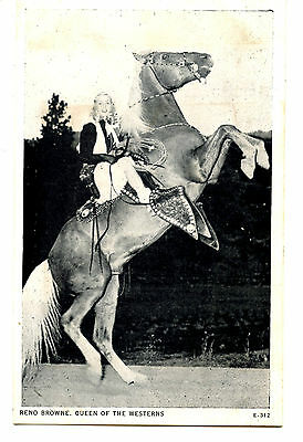 Reno Browne Cowgirl on Horse-Pretty Actress Queen of Westerns Vintage Postcard