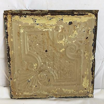 "1890's Reclaimed 12"" x 12"" Antique Tin Ceiling Tile 159-17 Metal Putty Shabby"