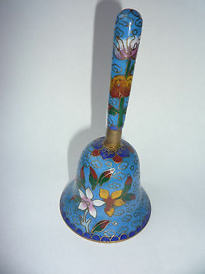 Old Chinese Flowers Painted Cloisonne Bronze Small Hand Bell