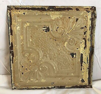 "1890's Reclaimed 12"" x 12"" Antique Tin Ceiling Tile 164-17 Metal Putty Shabby"
