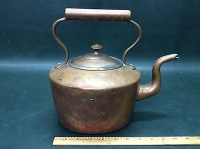 Antique Hand Wrought Dovetailed English Copper Teapot Kettle