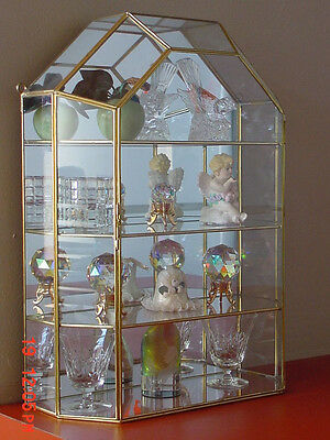 New House Style Glass Brass CURIO CABINET TABLE TOP display case