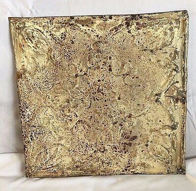1890's 12 x 12 Antique Tin Ceiling Tile Reclaimed 166-17 Malt Anniversary Floral