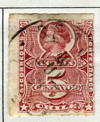 CHILE;  1877 early classic Columbus rouletted issue fine used 2c. value