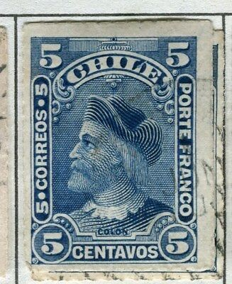 CHILE;  1900 early classic Columbus rouletted issue fine used 5c. value