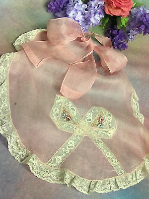 ANTIQUE vintage PINK SILK ORGANDY APRON embroidery LACE trim CROSS STITCH fabric