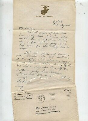 World War II WWII Love LETTER US Marine USS Santa Fe Ship Navy Sailor Military