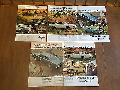 Vintage Print Ad - 1967 Plymouth Barracuda Ad Lot - 1960's Advertising - Large