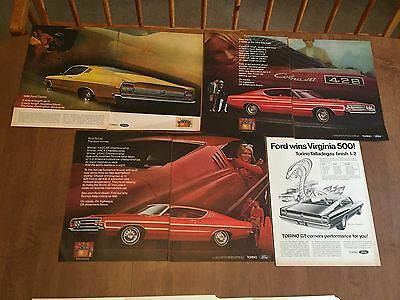 Vintage Print Ad - Ford: 1969 Torino Ad Lot - 1960's Advertising - Large