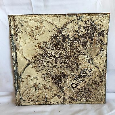 1890's 12 x 12 Antique Tin Ceiling Tile Reclaimed 177-17 Malt Anniversary Floral