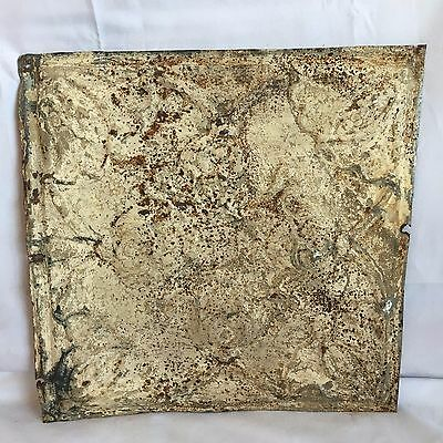 1890's 12 x 12 Antique Tin Ceiling Tile Reclaimed 178-17 Malt Anniversary Floral