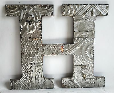 "Large Antique Tin Ceiling Wrapped 16"" Letter 'H' Patchwork Metal Silver B74"