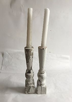 Two(2) RECLAIMED Wood Candlesticks SHABBY Candle Holders Antique White D25