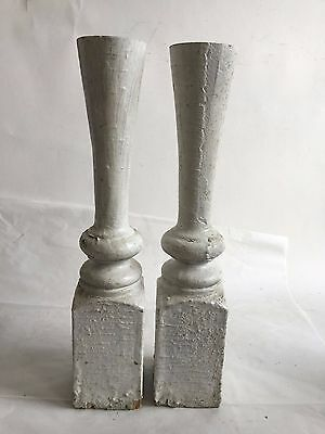 Two(2) RECLAIMED Wood Candlesticks SHABBY Candle Holders Antique White D27