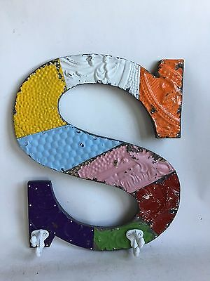 "Large Antique Tin Ceiling Wrapped 16"" Letter 'S' Patchwork Hooks Multi Color"