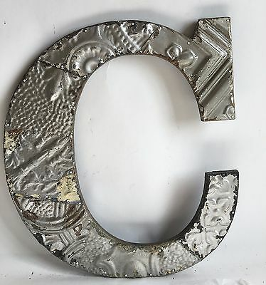 "Large Antique Tin Ceiling Wrapped 16"" Letter 'C' Patchwork Metal Silver B77"