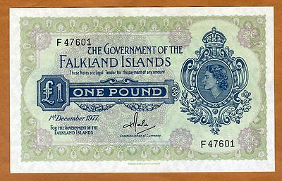 Falkland Islands, 1 pound, 1977, QEII, P-8c, UNC