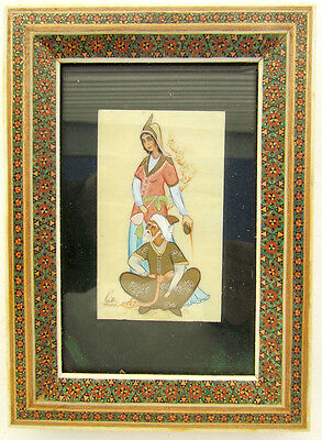 Vintage Indian Hand Painted Framed Plaque