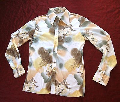 Vintage 1970s ~Women's GROOVY PRINT Shirt ~ Disco Abstract Button up ~ sz 15 L