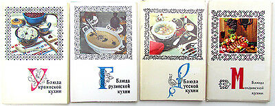 GROUP OF 4 1970s RUSSIAN SOVIET CULINARY ART PHOTO POSTCARDS SETS