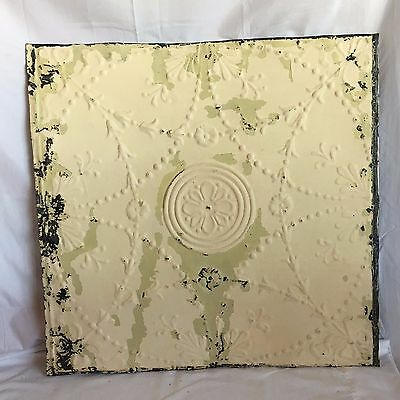 "1890's 24"" x 24"" Antique Reclaimed Tin Ceiling Tile Ivory 184-17 Anniversary"