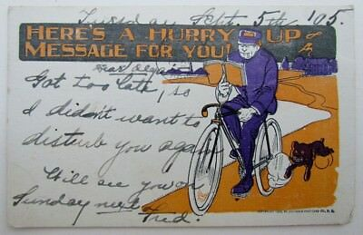 VINTAGE 1905 POSTCARD HERE IS HURRY UP MESSAGE FOR YOU BICYCLE MESSANGER w/ DOG