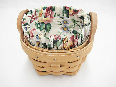 Longaberger 1995 Small Round Thyme Basket with Fabric Liner Leather Handles