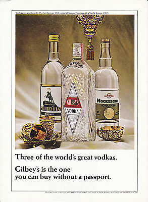 Original Print Ad-1966 Three of the World's Great Vodkas-Gilbey's Is The One….