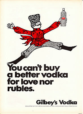 Original Print Ad-1967 Gilbey's-You can't buy a better vodka for love nor Rubles