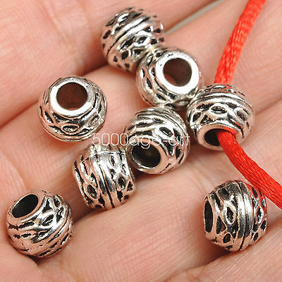 10pcs Tibetan Silver Round Loose Spacer Beads Jewelry Findings DIY 10mm A3542